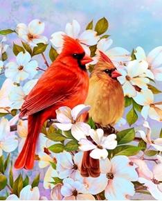 Cardinal Pair and Dogwood Tree Song Bird Digital Cotton Fabric Panel