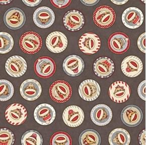 Monkey Biz Sock Monkey Circles Retro Plush Toy Gray Cotton Fabric