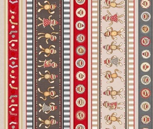 Monkey Biz Sock Monkey Character Stripe Plush Toy Cotton Fabric
