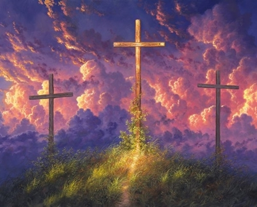 Old Rugged Cross Crucifixion of Jesus Religious Digital Fabric Panel