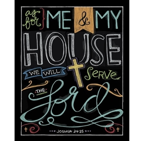 Chalk It Up We Will Serve the Lord Religious Digital Fabric Panel