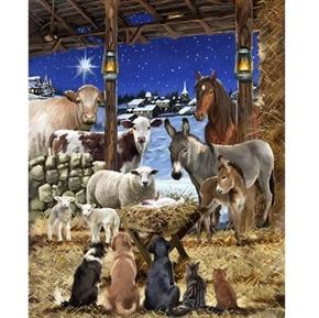 Animals in Manger Christmas Night Religious Digital Fabric Panel