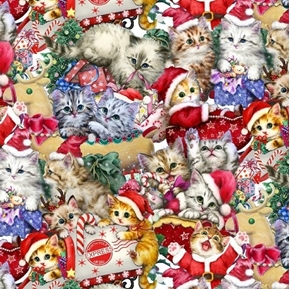 Kitten Christmas Packed Kittens Playful Holiday Cat Cotton Fabric