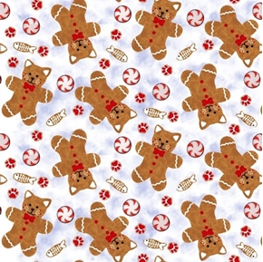 Kitten Christmas Ginger Cat Cookies Mints Fish Holiday Cotton Fabric