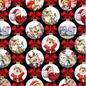 Kitten Christmas Cat Tree Ornaments Kitten Holiday Cotton Fabric