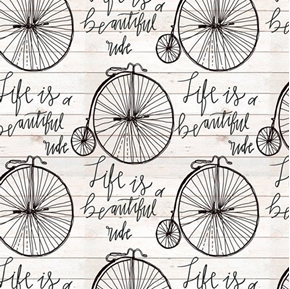Life is a Beautiful Ride Vintage Bicycle Bike Cotton Fabric