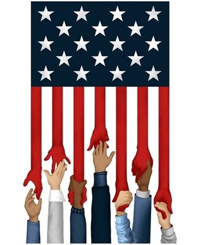 Essential Heroes Helping Hands Patriotic Diversity Cotton Fabric Panel