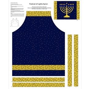 Festival of Lights Hanukkah Apron Menorah Cotton Fabric Craft Panel