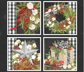 Gingham Christmas Holiday Greens Gifts Cotton Fabric Pillow Panel Set