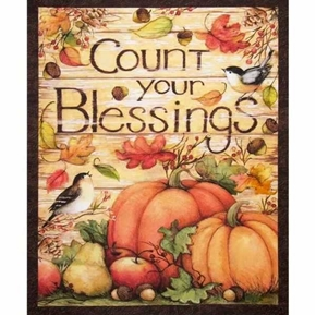 Count your Blessings Fall Pumpkins Large Holiday Cotton Fabric Panel