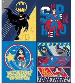 Young DC Superheroes Batman Superman Wonder Woman Large Fabric Panel