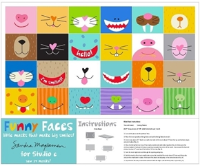 Funny Faces Kids Mask Cute Animal Masks Cotton Fabric Craft Panel