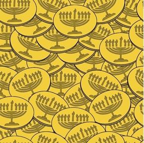 Festival of Lights Gelt Hanukkah Coins Menorahs Dreidel Cotton Fabric