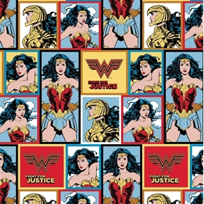 DC Comics Wonder Woman Fight for Justice Blocks WW84 Cotton Fabric