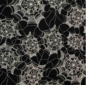 Patterned Web Halloween Spider Webs White On Black Cotton Fabric