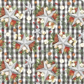 Holiday Gingham Star Stars and Greens Black White Check Cotton Fabric