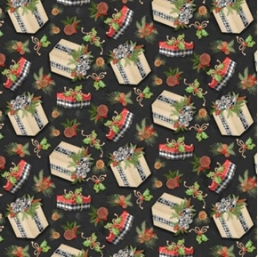 Holiday Gift Toss Presents Gingham Ribbon Christmas Black Cotton Fabric