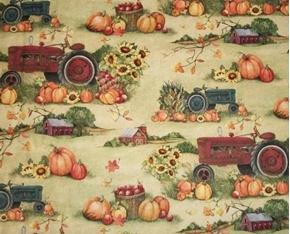 Fall Harvest Tractor Pumpkins Apples Tractors Farm Cotton Fabric