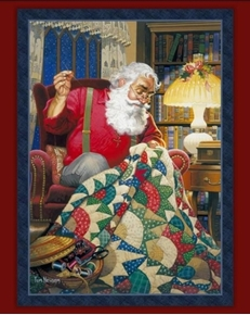 Quilting Santa Claus Sewing Christmas Quilt Large Cotton Fabric Panel
