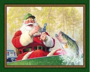 Santas Trophy Santa Claus Fishing Christmas Cotton Fabric Panel