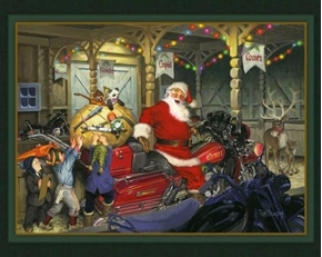 Cycle Santa Motorcycle Filled with Toys Christmas Cotton Fabric Panel