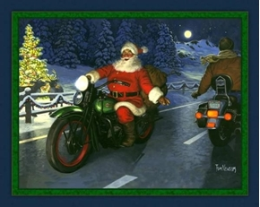 Motorcycle Santa Passing Cycle on the Road Cotton Fabric Panel