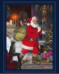 Under the Mistletoe Santa and Cat Christmas Eve Cotton Fabric Panel