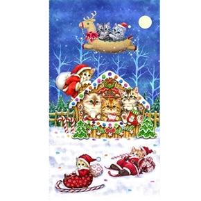 Kitten Christmas Kittens Sweet Home 24x44 Holiday Cotton Fabric Panel