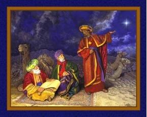 Three Wise Men Following Nativity Star Christmas Cotton Fabric Panel