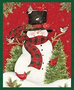 Snowman Country Christmas Cardinal Large Cotton Fabric Panel