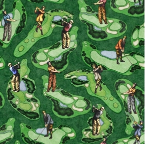 Chip Shot Golf Course Scenic Golfing Greens Green Cotton Fabric