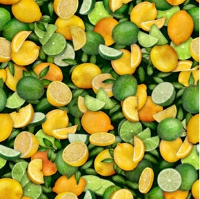 Fresh Lemons and Limes Citrus Fruit Wedges and Slices Cotton Fabric