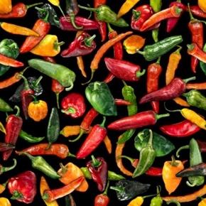 Fresh Chili Peppers Hot Jalapeno Serrano Cayenne Pepper Cotton Fabric