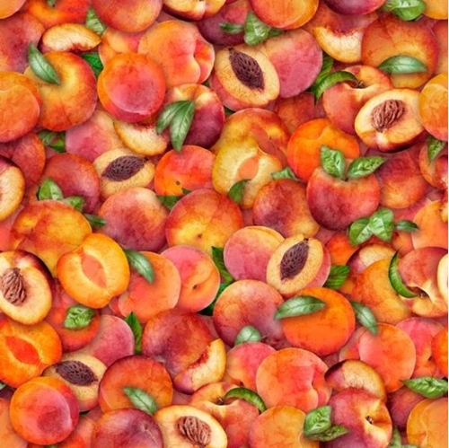 Fresh Peaches Peach Fruit Slices Halves with Pits Cotton Fabric