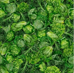 Fresh Mixed Greens Lettuce Cabbage Kale Endive Leafy Cotton Fabric