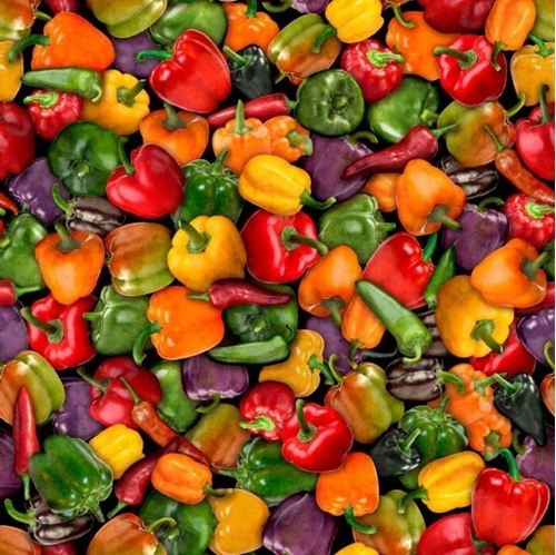 Fresh Mixed Peppers Bell Poblano Jalapeno Serrano Pepper Cotton Fabric