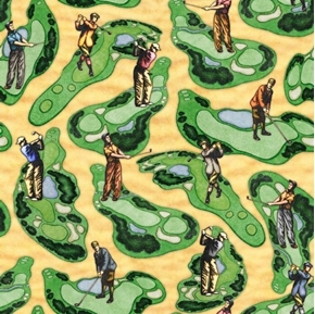 Chip Shot Golf Course Scenic Golfing Greens Sand Cotton Fabric