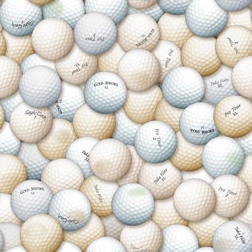Chip Shot Packed Golf Balls Golfing White Brown Ball Cotton Fabric