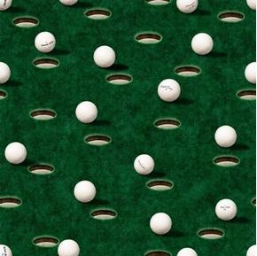 Chip Shot Golf Balls and Holes Golfing Greens Dark Green Cotton Fabric