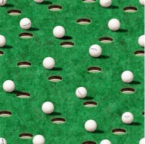 Chip Shot Golf Balls and Holes Golfing Greens Green Cotton Fabric