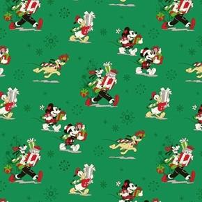 Disney Mickey and Friends Christmas Goofy Pluto Green Cotton Fabric