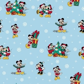 Disney Mickey and Friends Minnie Mouse Christmas Blue Cotton Fabric