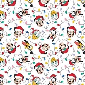 Disney Mickey and Friends Christmas Lights Goofy Donald Cotton Fabric