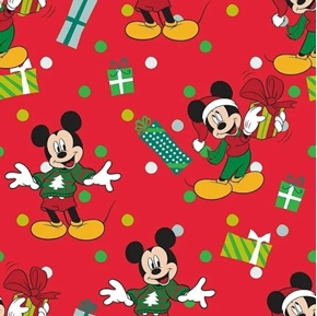 Disney Mickey For Me Christmas Gifts Presents Red Cotton Fabric