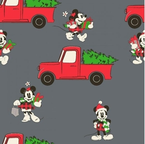 Disney Mickey Mouse Red Truck Christmas Holiday Gray Cotton Fabric