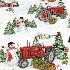 Farm Tractors Snowmen Christmas Susan Winget Holiday Cotton Fabric