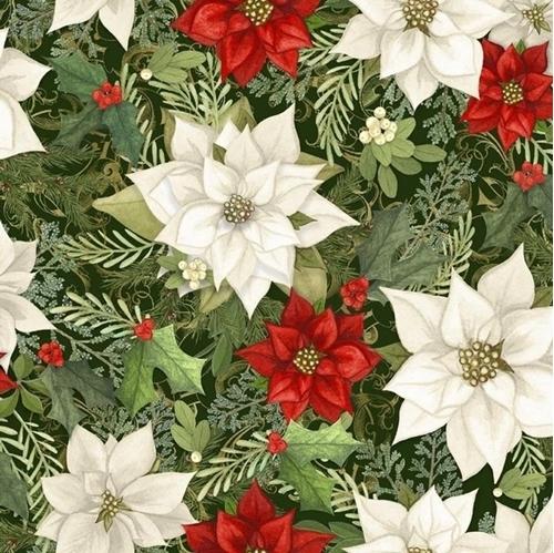 Cardinal Elegance Poinsettia Nicole Tamarin Christmas Cotton Fabric