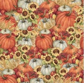Pumpkin Field Pumpkins Sunflowers Susan Winget Holiday Cotton Fabric