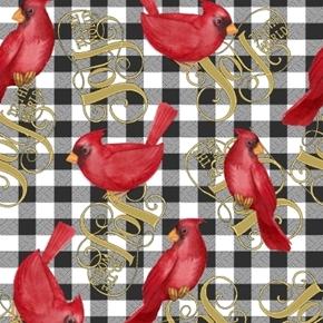 Cardinal Elegance Joy to the World Gingham Nicole Tamarin Cotton Fabric