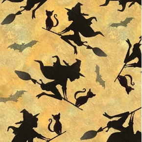 Flying Witches Halloween Witch Kate Ward Thacker Holiday Cotton Fabric